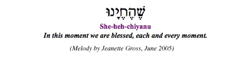 """Shehechiyanu - In this moment we are blessed, each and every moment"""