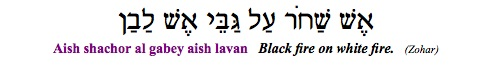 """Aish shachor al gabey aish lavan - Black fire on white fire."" (Zohar)"